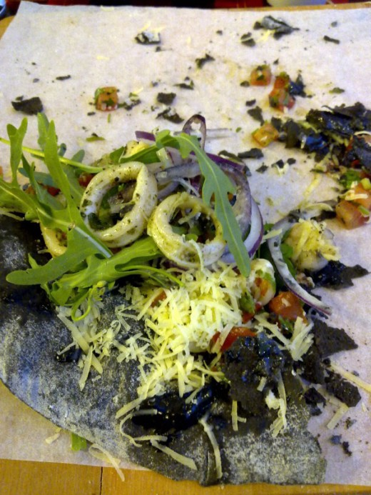 The place is called Skinny Pizza because if you have to eat their Squid Ink Pizza you'll be sick for a month and lose a lot of weight!