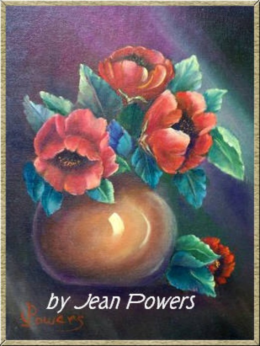 Pot of Poppies by Jean Powers done in oils