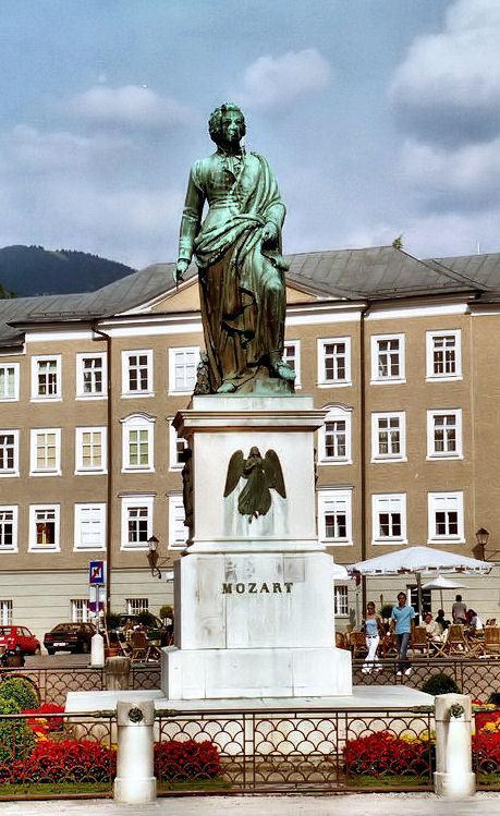 Statue of Mozart in Mozartplatz Salzburg