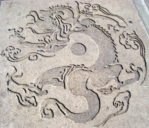 Sidewalk with Dragon design