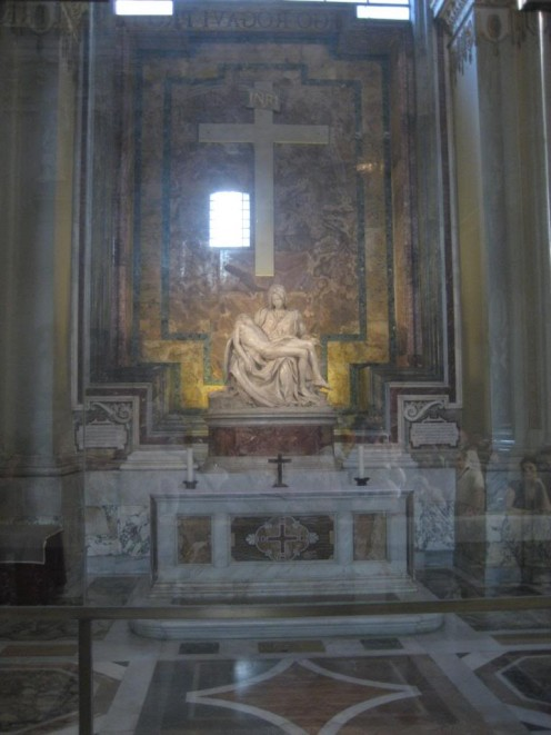 Michelangelo's Pieta, After you walk in the front door of St Peter's Basillica in The Vatican, Rome, the Pieta will be on your right