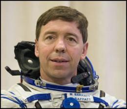 Dr. Michael Barratt in Russian space suit.