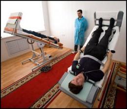 Barratt on a tilt table in Kazakhstan.