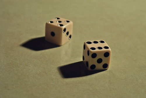 Gotta have dice to play bunco (image from Ella's Dad on Flickr)