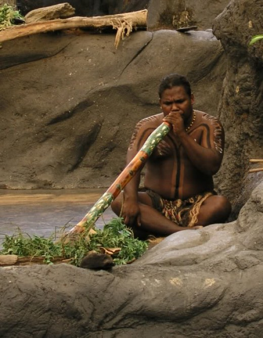The didgeridoo being played by an aborigine.