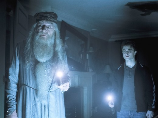 A scene from Harry Potter with fellow actor Michael Gambon playing the role of Albus Dumbledore.