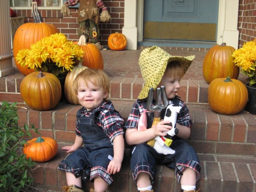 Jacob and Caleb as farmers.