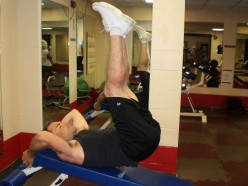 The Decline Bench Reverse Crunch up position