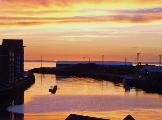 ayr harbour, at sunset
