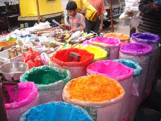 Such colour powders are used to mix with water for throwing. even dry colour powder is also thrown