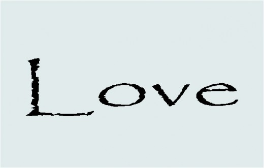 Love with Black text