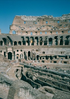 photograph taken of The Colosseum interior. Rome