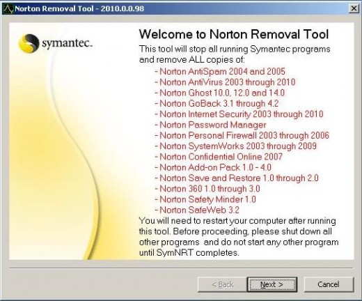 Snapshot of Norton Removal Tool