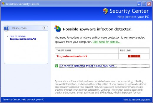 This is a screen shot of the fake Windows Security Center warning!