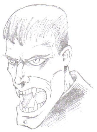 Vampire Drawing by Wayne Tully 2009.