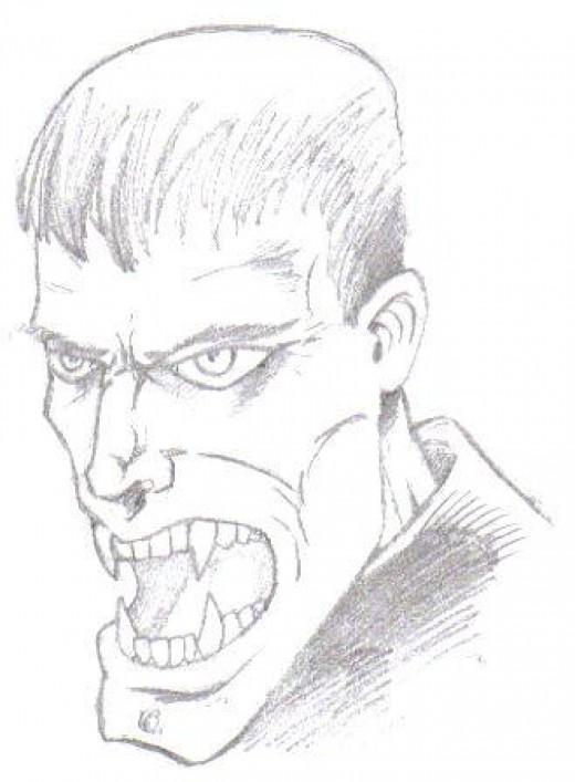 Vampire Drawing by Wayne Tully 2009.