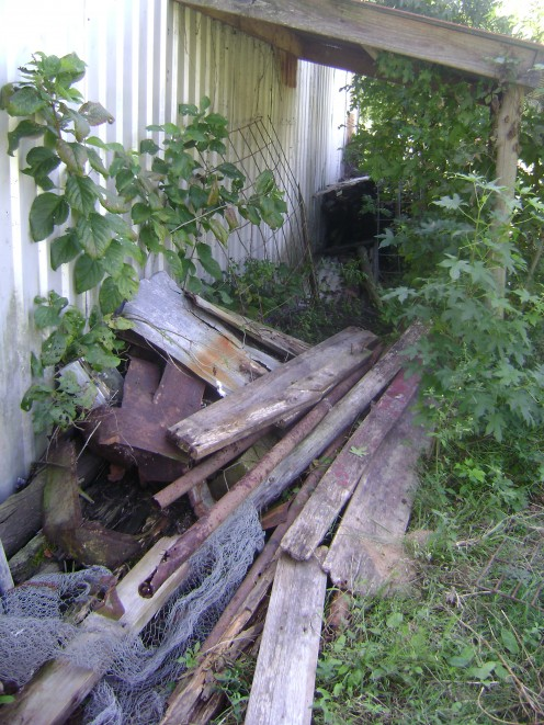 "IN ADDITION, ALL OLD FENCING MATERIAL CREATES AN IDEAL ENVIRONMENT AND ATTRACTION FOR BLACK WIDOW AND BROWN RECLUSE SPIDERS, AS WELL AS GIVING THE OUTSIDE OF THE BARN/SHOP A ""RUSTIC"" LOOK."