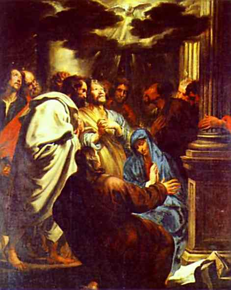 Anthony van Dyck. The Descent of the Holy Spirit (Pentecost). c. 1618-20. Oil on canvas. Sanssouci,Potsdam, Germany.   Olga's Gallery