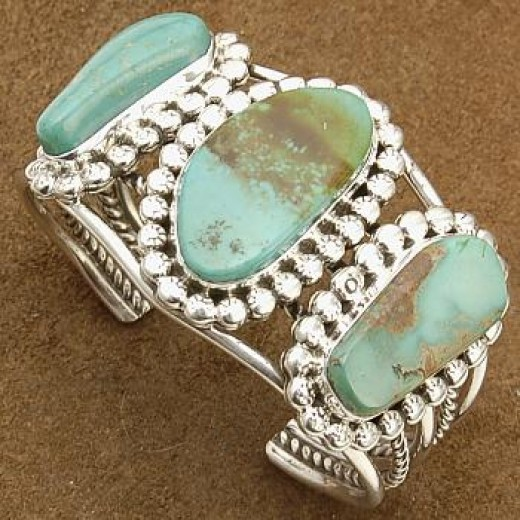 Turquoise and sterling silver cuff.