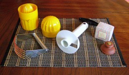 Bottom R clockwise: pastry blender, lemon juicer, pineapple corer, biscuit/butter press.