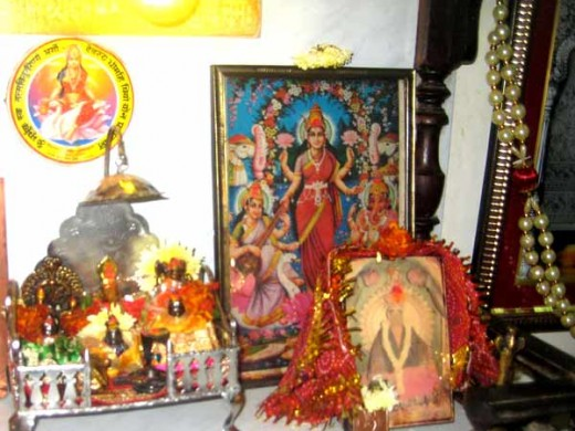 A scene of Lakshmi pooja performed in a shop during Diwali