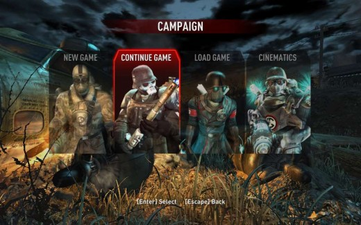 Some of the game enemies featured in the menu.