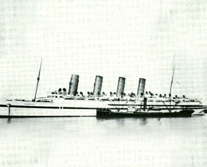 Sister ship Mauretania in war service, as a hospital ship during the Gallipoli campaign.