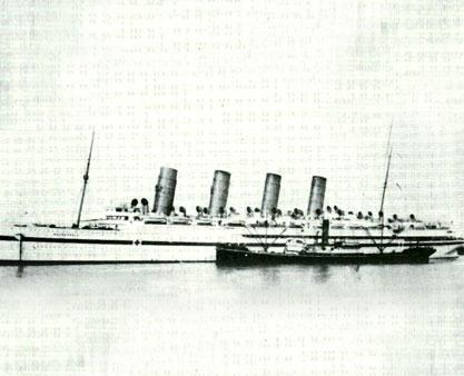 Sister ship Mauretania in war service, as a hospital ship during the Gallipoli campaign.
