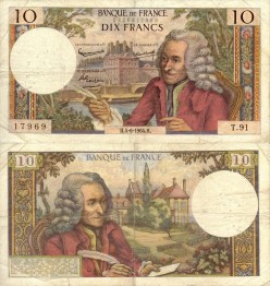 Voltaire was once on the 10 Franc Note