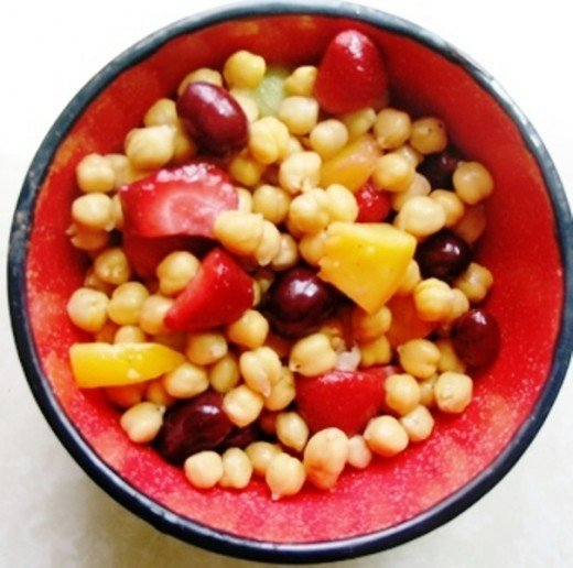 This simple chick pea & fruit salad can be made ahead of time and kept cool until ready to serve. Bob Ewing photo