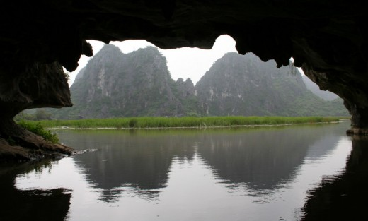 View from inside the cave on Van Long Reserve