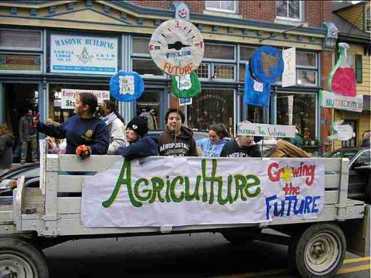 Proud Future Farmers of America enjoy the ride