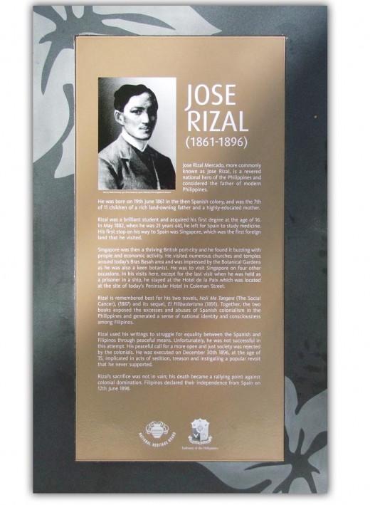 Plaque at the Ancient Civilizations Green near the Cavenagh Bridge, Singapore, in memory of the Filipino national hero Jose Rizal (June 19 1861  December 30 1896)