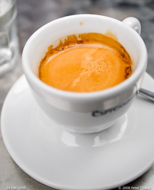 Double espresso shot with rich and frothy crema