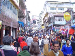 The busy market place of Shillong at Police Bazar