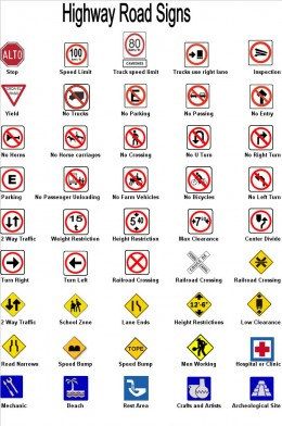 Some common road signs, from ontheroad.com