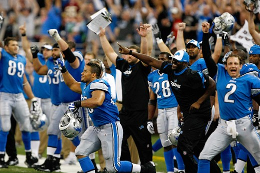 The Detroit Lions Celebrating for the First Time in 20 Games.