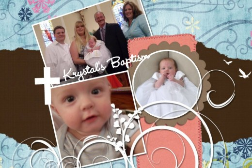 A beautiful example of a baby girl scrapbook, made digitally