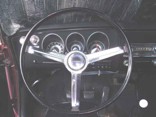 "This is a steering wheel for a 67 thru 69 Corvair. Its shaft hole is .75"", like the 60-63 models."