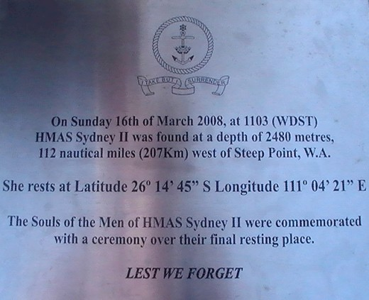 The plaque at base of HMAS Sydney 11