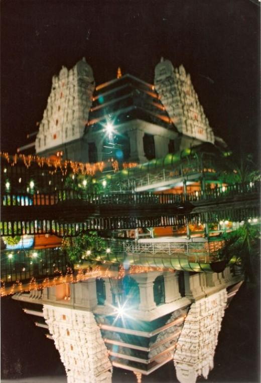 Iskon temple in Bangalore-Scene by night.