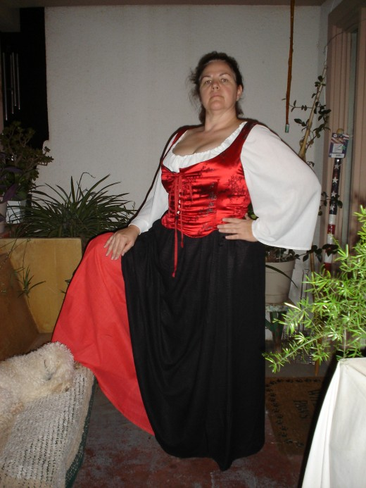 Same patten pieces as above photo, but done in large size and fabrics in a pirate wench style.