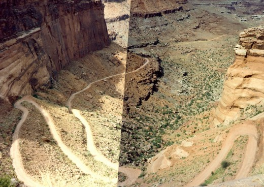 Two photos pieced together showing the switchback roads we had traveled.