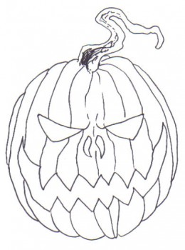 Draw over the pumpkin pencil drawing with black ink.