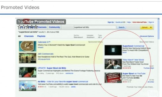 Videos that you see on the right are the YouTube promoted videos. On the left side you can see the search results.