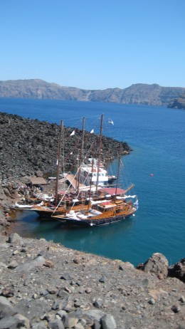 Photograph of boat trip to the volcano island  Nea Kameni