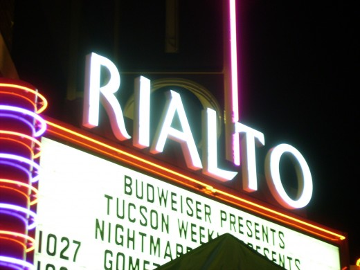 Tucson's Rialto Theater at night