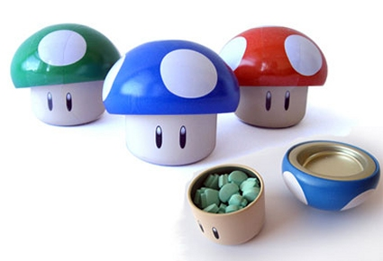 "Each Mario Mushroom is made of Tin with sour candy inside, measures 2""H. Assorted tin colors and candy flavors."