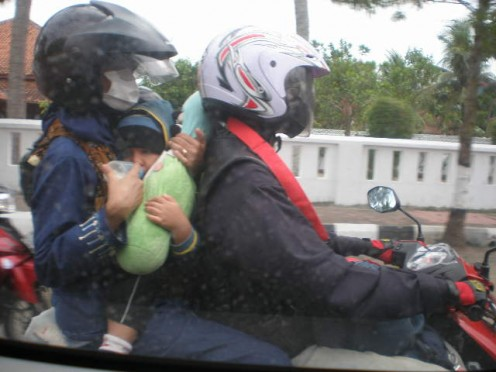 Going mudik belongs to every family, either going by cars or by motorcyles.