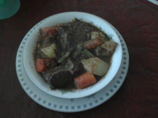 Great beef stew to settle down too.